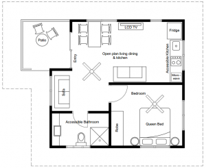 Floor plan for Deluxe 1 Bedroom Apartment – with Special Access